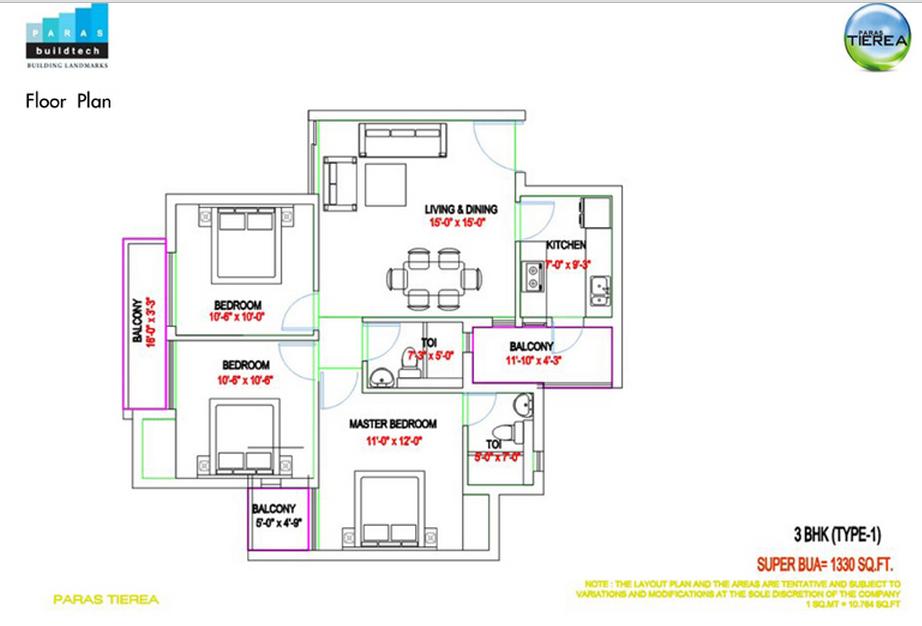 paras tierea 3bhk 1330 sqr ft floor plan