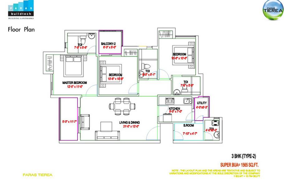 paras tierea 3bhk 1565 sqr ft floor plan