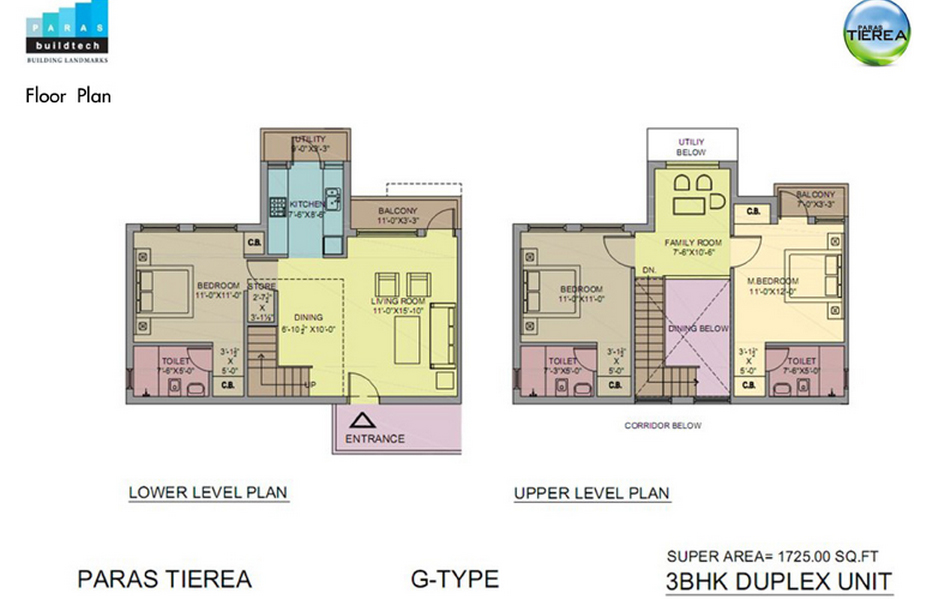 paras tierea 3bhk 1725 sqr ft floor plan