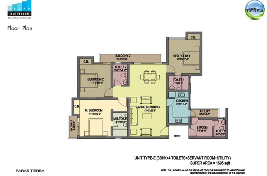 paras tierea 3bhk 3toilet 1695 sqr ft floor plan