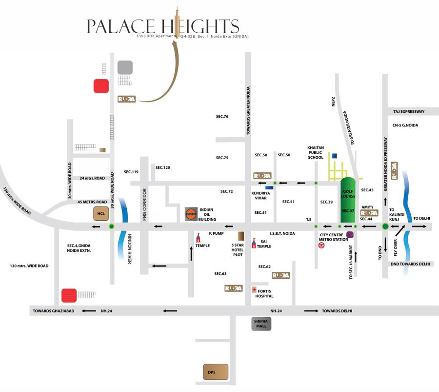rudra palace heights location map