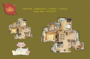sikk kaamna greens 2bhk 3toilet 1315 sqr ft floor plan