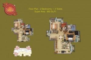 sikka kaaman greens 2bhk 2toilet 950 sqr ft floor plan