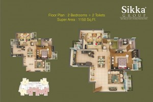 sikka kaamna greens 2bhk 2toilet 1150 sqr ft floor plan