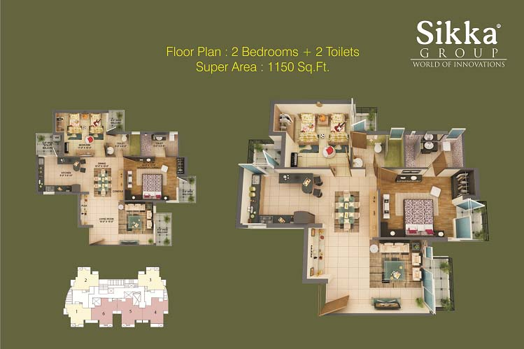 sikka kaamna greens 2bhk  2toilet 1150 sqr ft floor plan