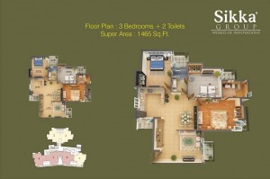sikka kaamna greens 3bhk 2toilet 1465 sqr ft floor plan