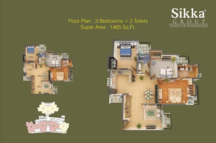 sikka kaamna greens 3bhk  2toilet 1465 sqr ft floor plan