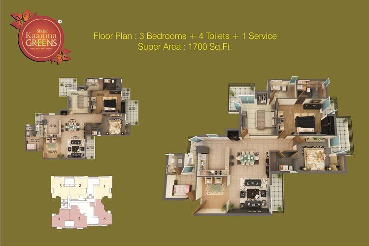 sikka kaamna greens 3bhk 4toilet 1700 sqr ft floor plan