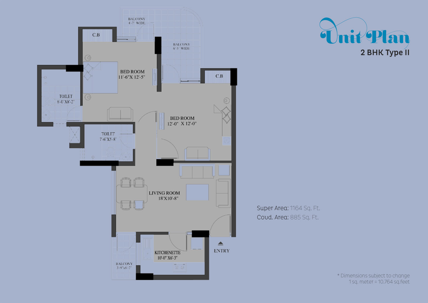stellar mi citihomes 2bhk 1164 sqr ft floor plan