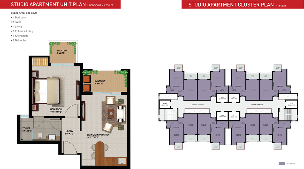 sunworld arista floor plan 2bhk 615 sqrft