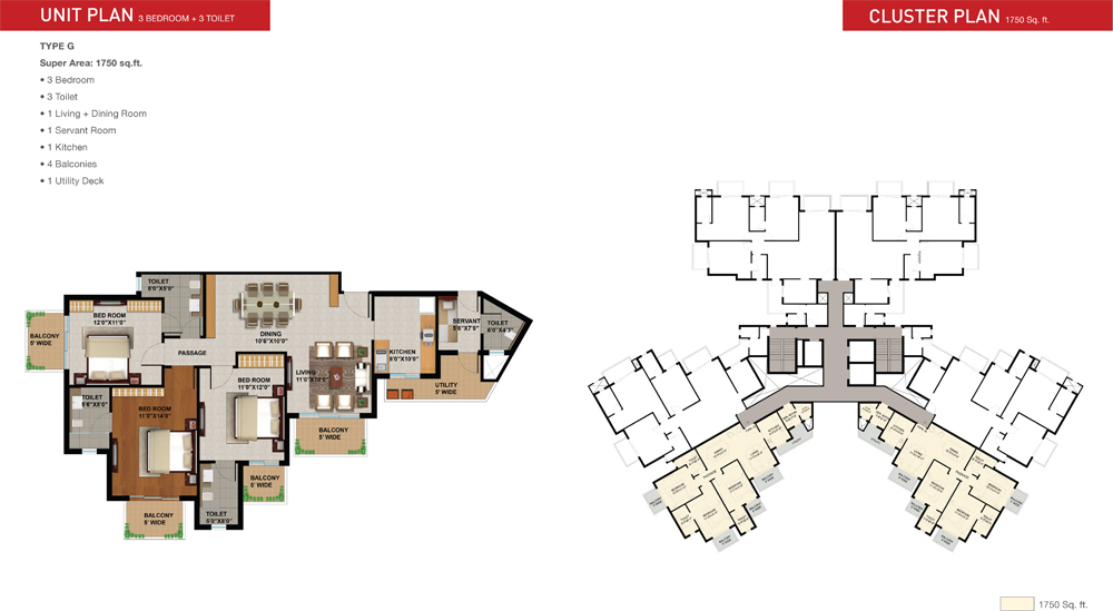 sunworld arista floor plan 3bhk 1750 sqrft