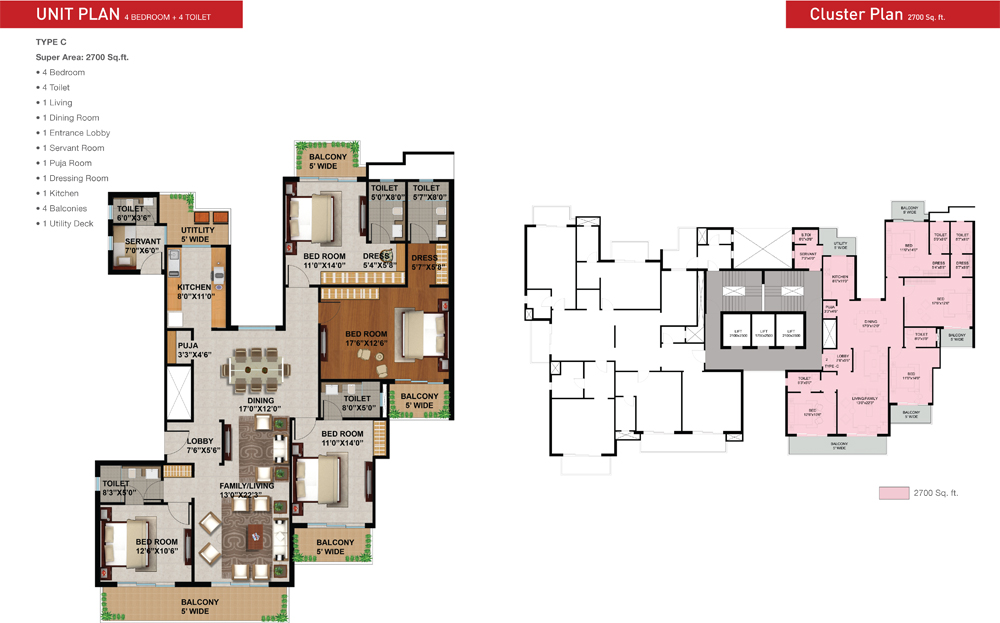 sunworld arista floor plan 4bhk 2700 sqrft