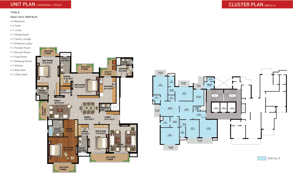 sunworld arista floor plan 4bhk 3500 sqrft