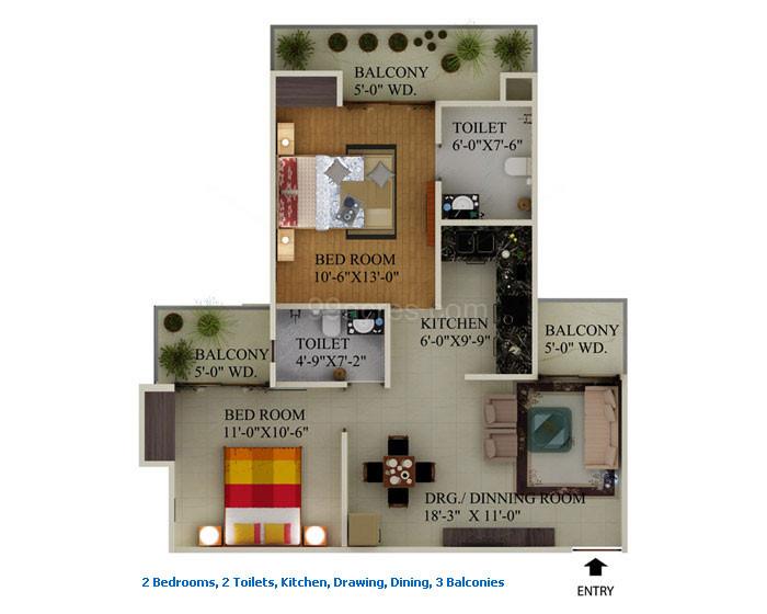 supertech ecociti 2bhk 2toilet 1080 sqr ft floor plan