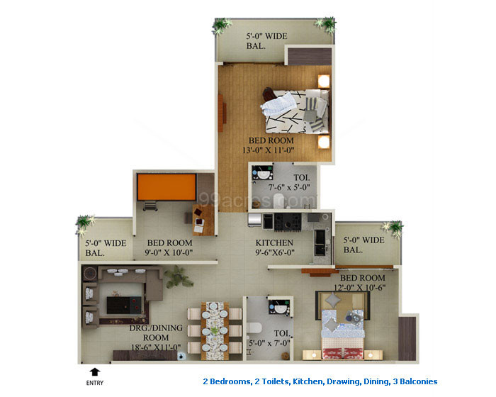 supertech ecociti 3BR 2toilet 1295sqr ft floor plan