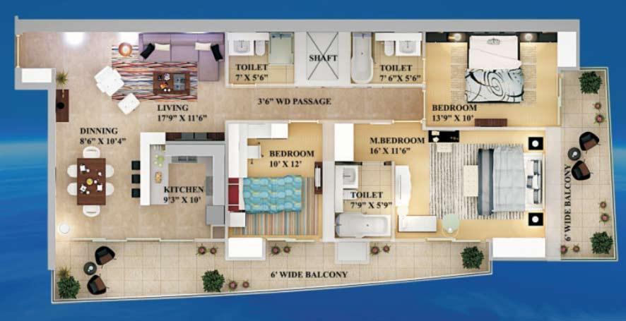 supertech supernova 3bhk 2040 sqr ft floor plan