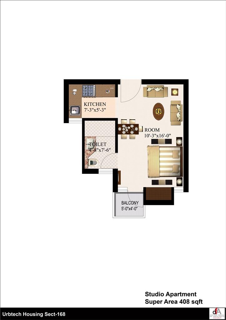 urbtech xaviers floor plan 1bhk 408 sqrft