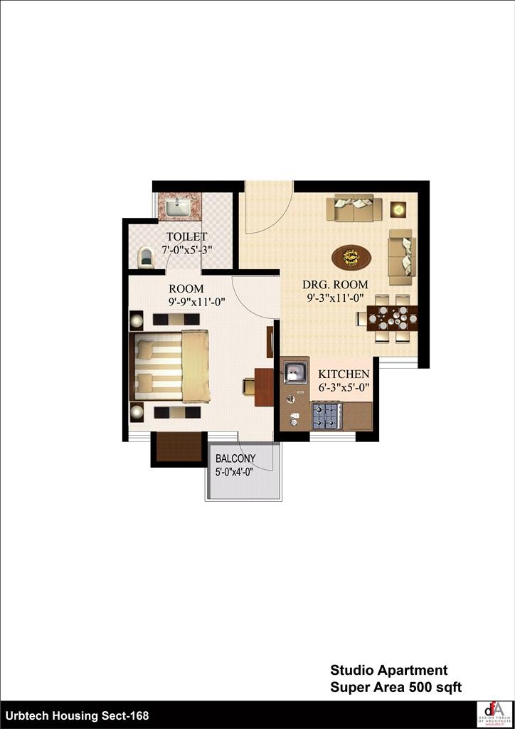 urbtech xaviers floor plan 1bhk 500 aqrft