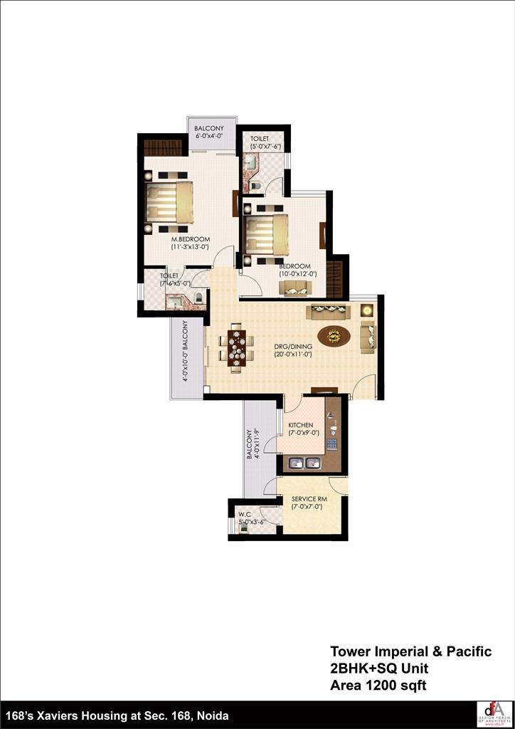 urbtech xaviers floor plan 2bhk 1200 sqr ft