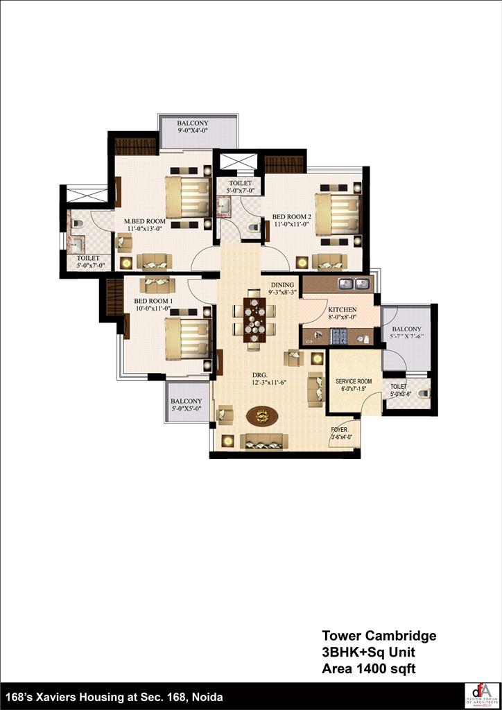 urbtech xaviers floor plan 3bhk 1400 sqrft