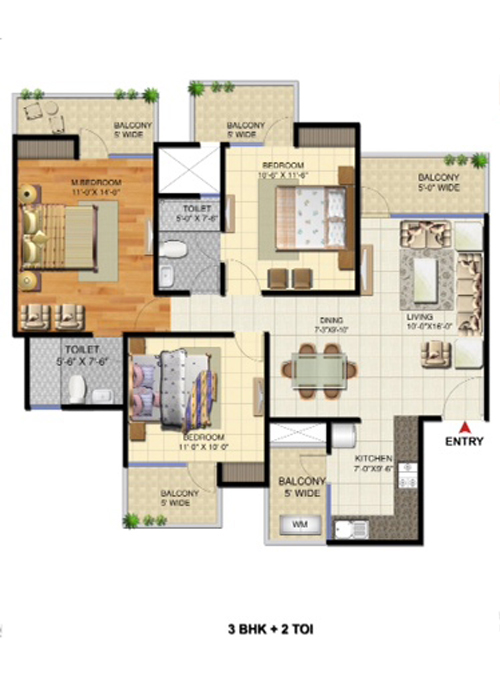 victory ace 3 Bed 2 Toilets 1475 sqr ft floor plan