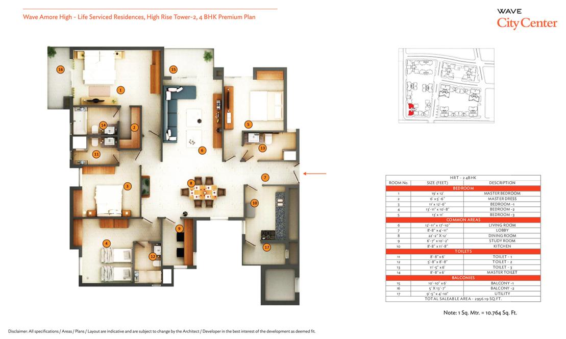 wave eminence 2bhk 1076 sqr ft floor plan