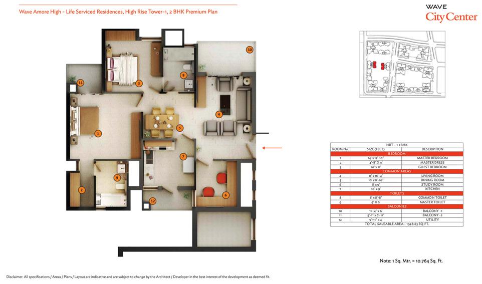 wave eminence 2bhk 1076 sqr ft floor plans