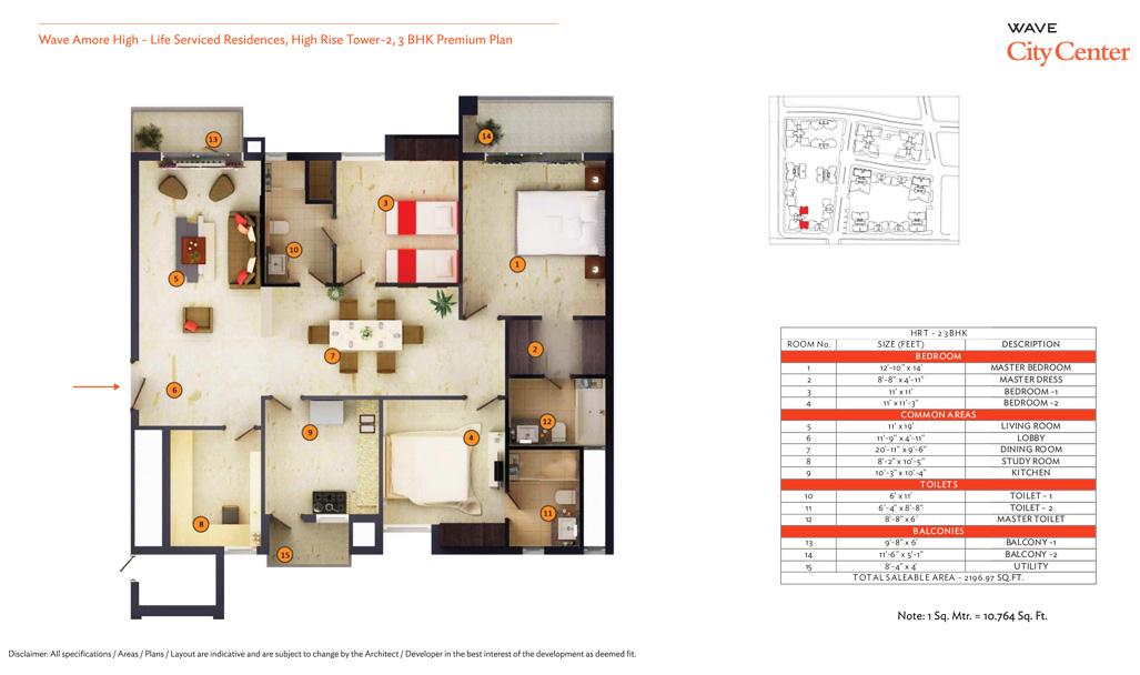 wave eminence 3bhk 2196 sqr ft floor plan