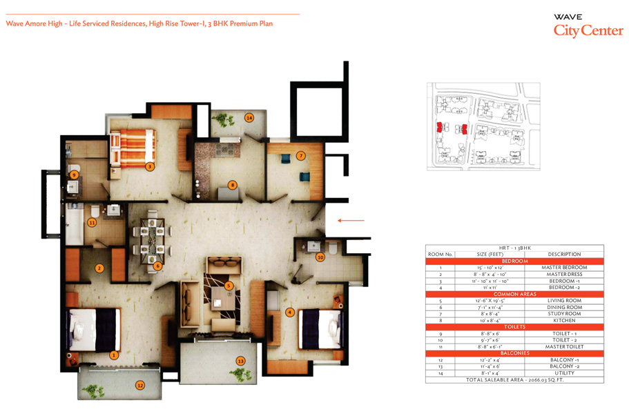 wave eminence 3bhk floor plan