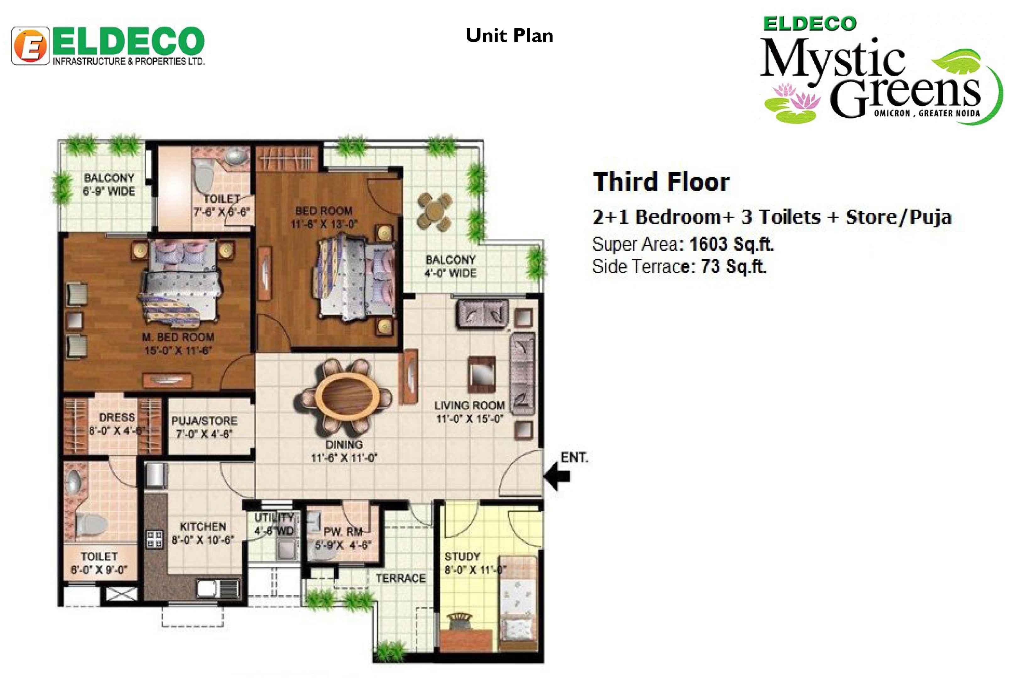 eldeco mystic green floor plan 2bhk+3toilet 1603 sqr ft