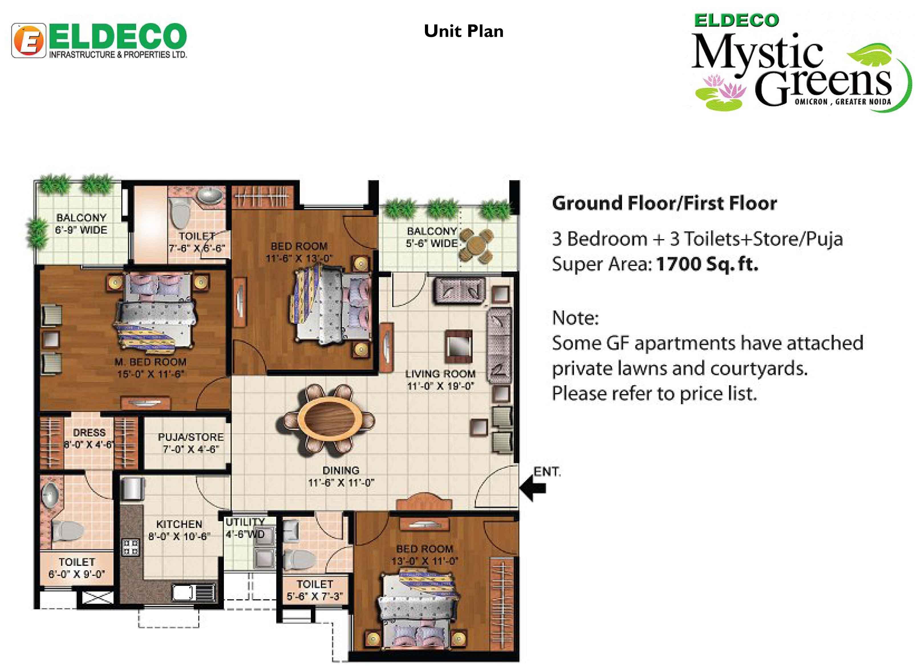 eldeco mystic green floor plan 3bhk+3toilet 1700 sqr ft