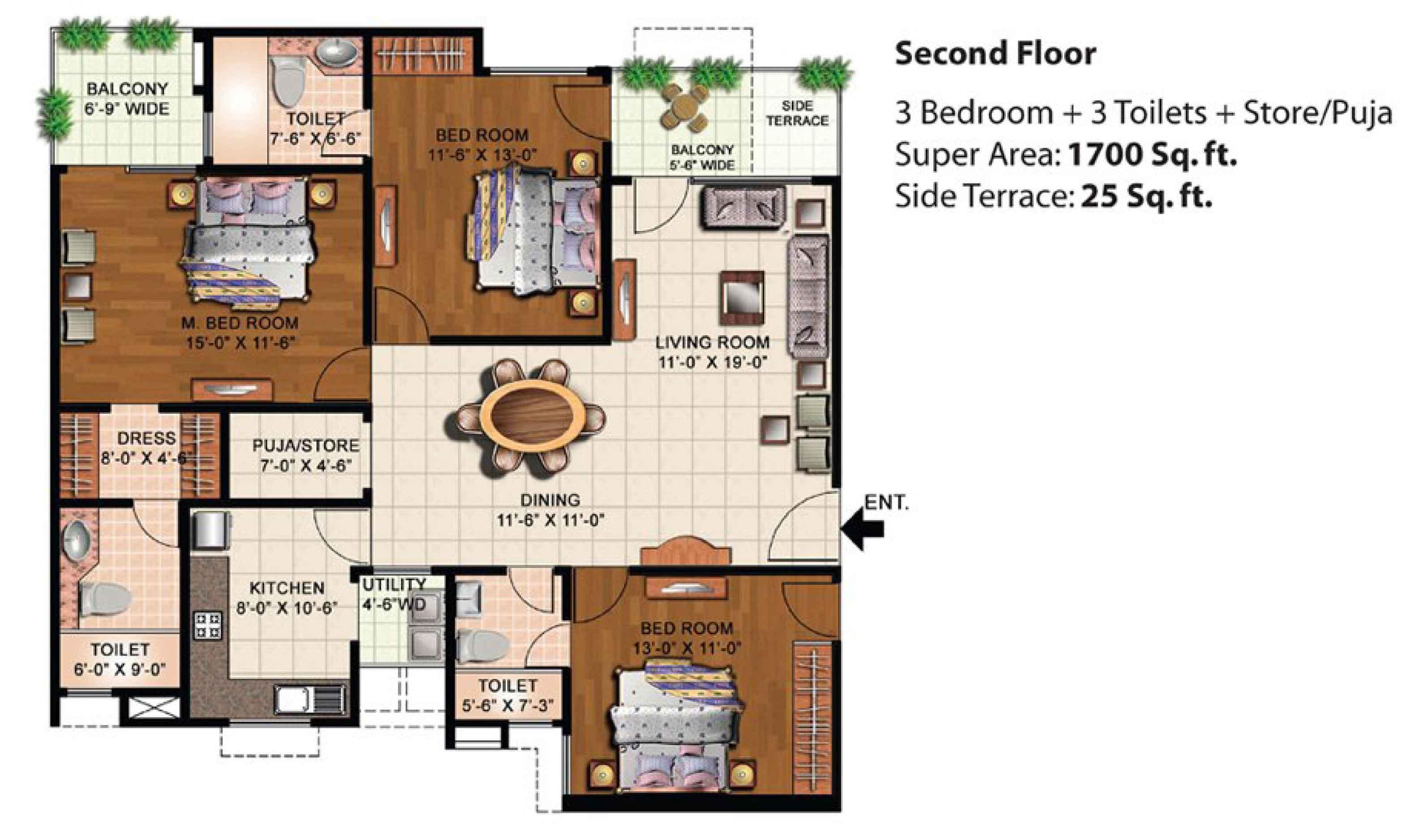 eldeco mystic green floor plan 3bhk+3toilets 1700 sqr ft