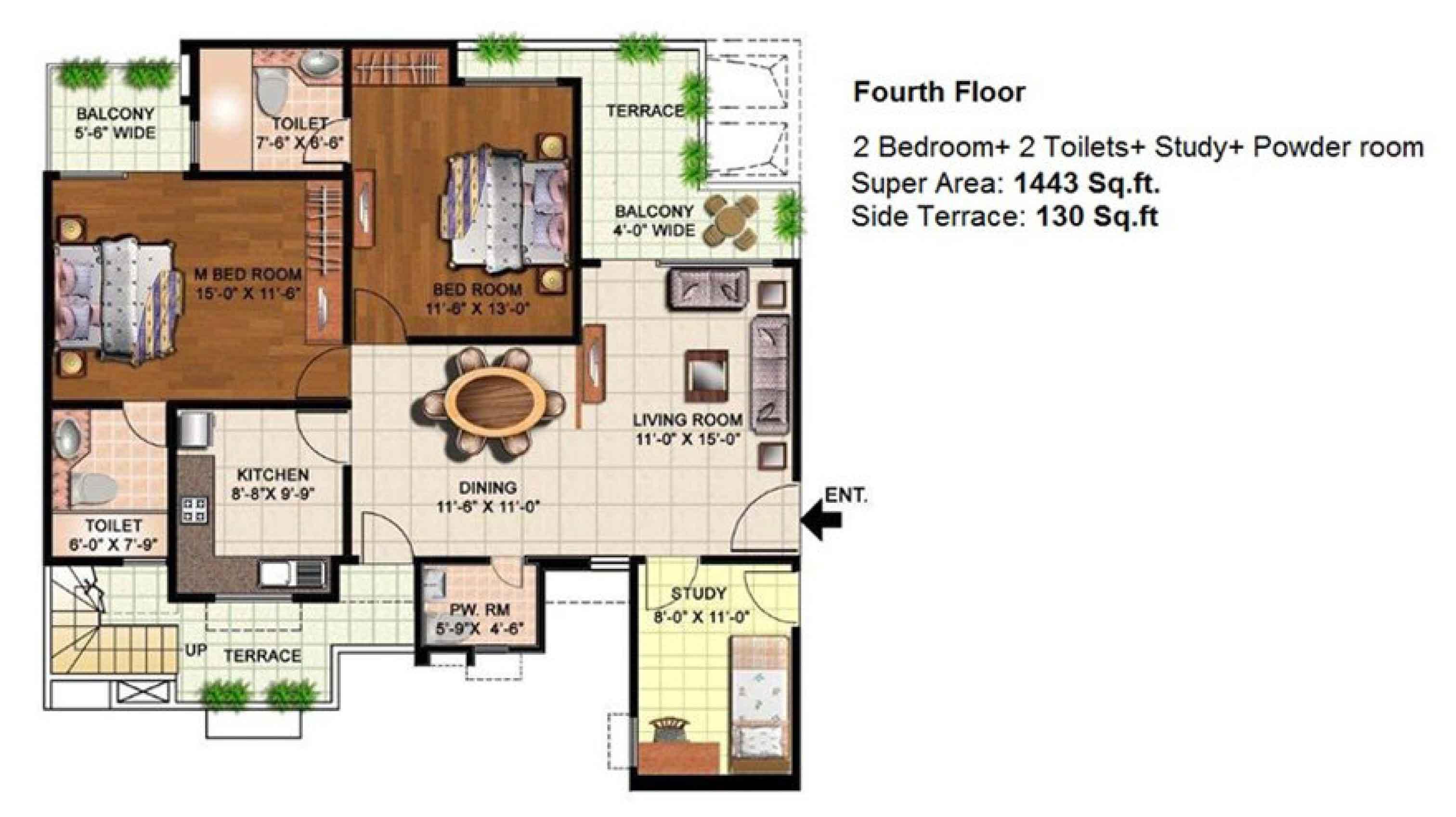 eldeco mystic greens floor plan 2bhk+2toilet 1443 sqr ft
