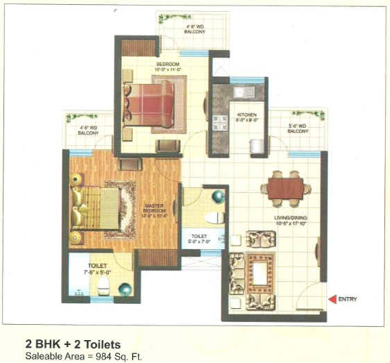 express park view floor plan 2bhk+2toilet 984sqr ft