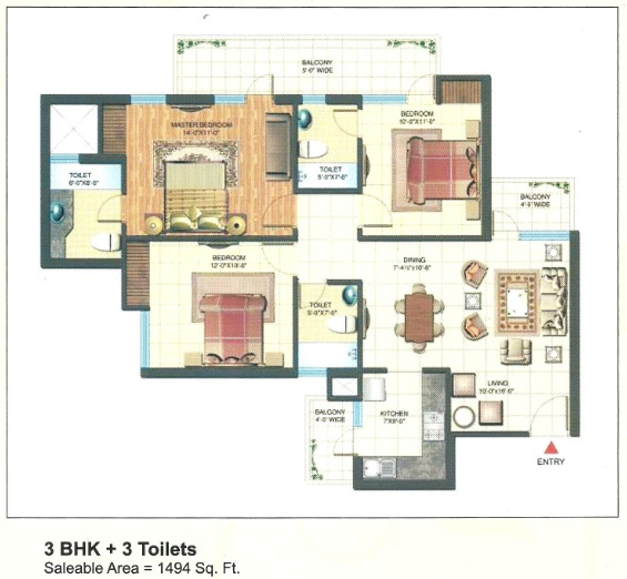 express park view floor plan 3bhk+3toilet 1494 sqr ft