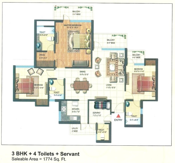 express park view floor plan 3bhk+4toilet+servant 1774 sqr ft