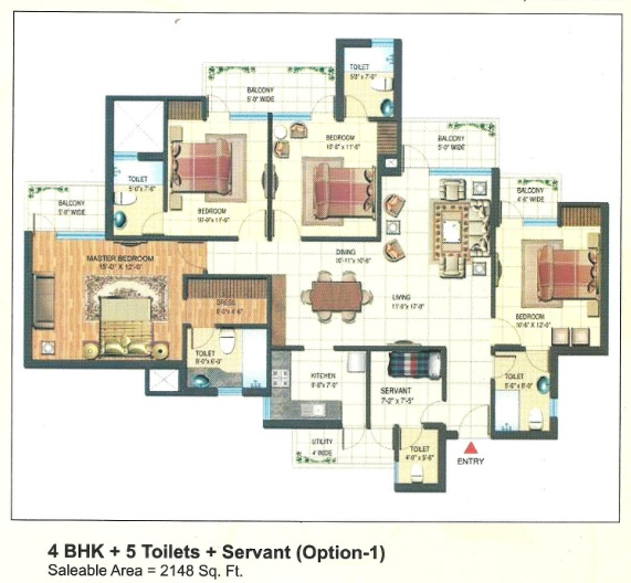 express park view floor plan 4bhk+5toilet 2148 sqr ft