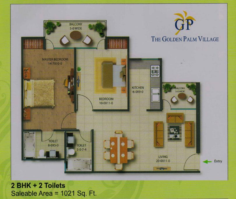 golden palm village floor plan 2 BHK + 2 Toilet 1021 sqr ft