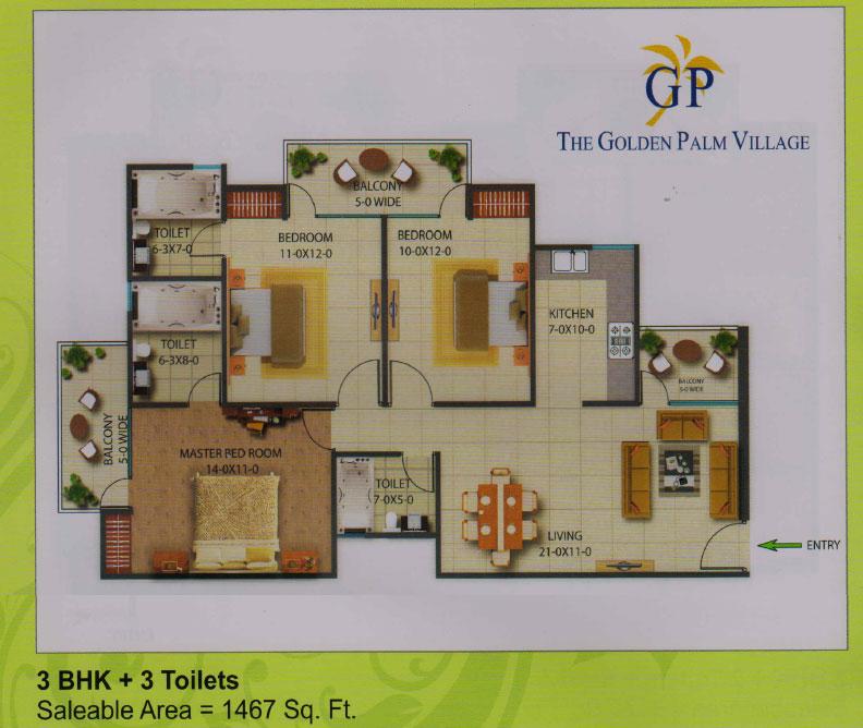 golden palm village floor plan 3 BHK + 3 Toilet 1467 sqr ft