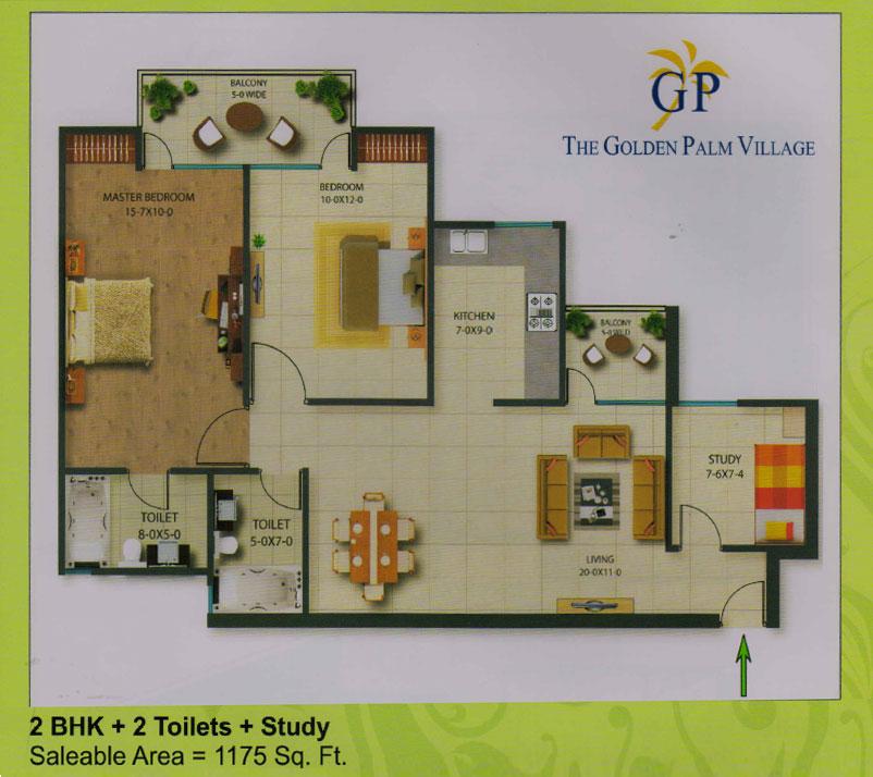 golden plam village floor plan 2 BHK + 2 Toilet + Study 1175 sqr ft