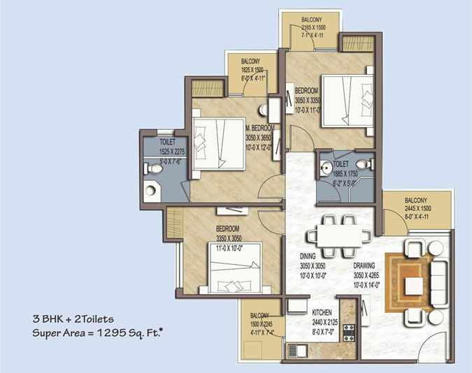 green avenue floor plan 3bhk+2toilet 1295 sqr ft