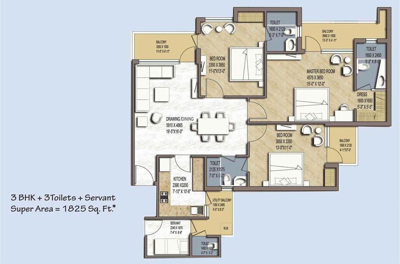 green avenue floor plan 3bhk+3toilet 1825 sqr ft floor plan