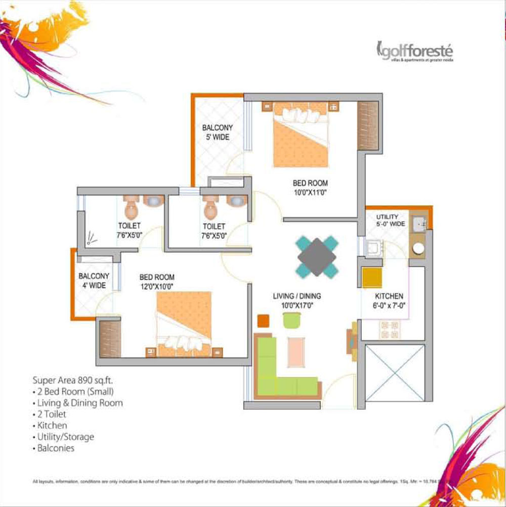 paramount golf forest floor plan 2bhk+2toilet 890 sqr ft