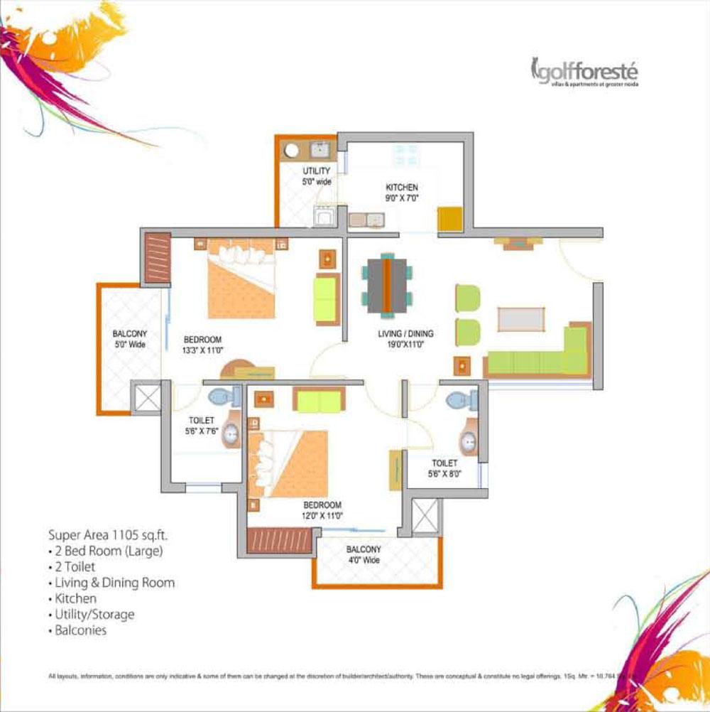 paramount golf forest floor plan 2bhk+2toilet sqr ft