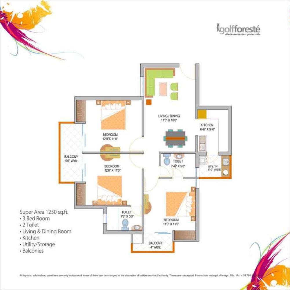 paramount golf forest floor plan 3bhk+2toilet 1250 sqr ft