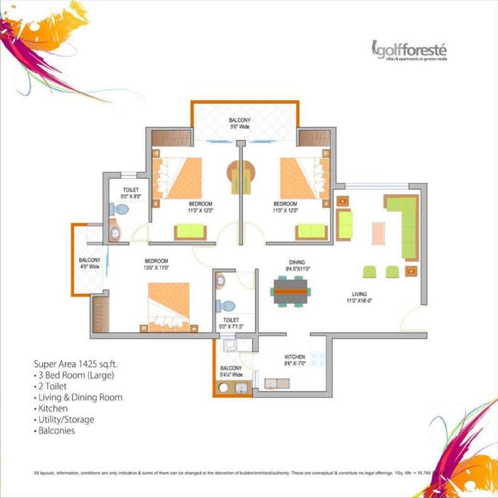 paramount golf forest floor plan 3bhk+2toilet 1425 sqr ft