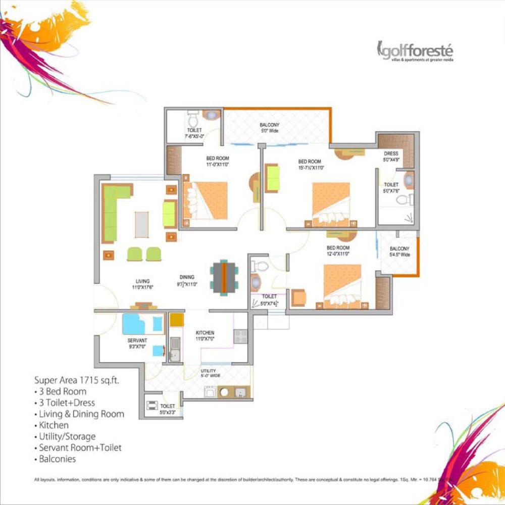 paramount golf forest floor plan 3bhk+3toilet 1715 sqr ft