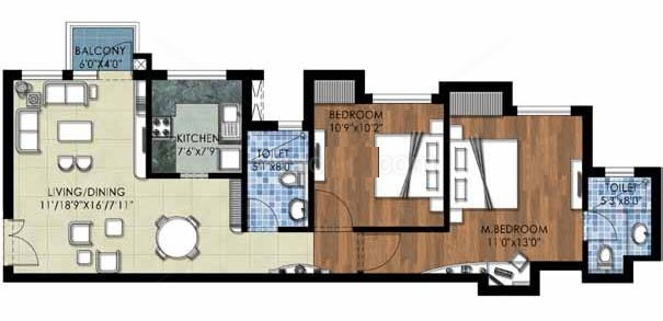 the kove floor plan 2bhk+2toilet 1060 sqr ft