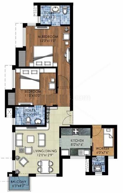 the kove floor plan 2bhk+2toilet 1075 sqr ft