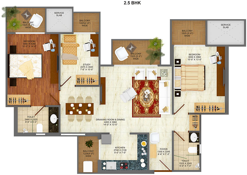 saviour greenarch floor plan 2bhk+2toilet 1325 sqft